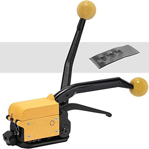 Hanchen Stahlband Umreifungsgerät Manuelle Umreifungsmaschine Stahlband Verpackung Maschine Tragbar Ballenpresse für Breites 13-19mm Stahlband