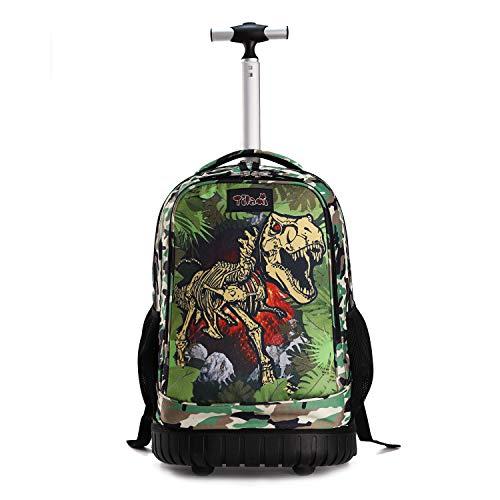 Tilami Rolling Backpack 19 inch Wheeled Cute LAPTOP Boys Girls Travel School Student Trip, Dinosaur