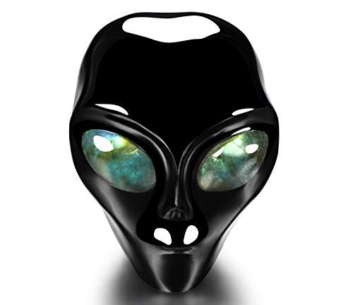 Skullis 3.0' Black Obsidian Star Being Female Alien Crystal Skull Companion with Labradorite Eyes, Hand Carved Gemstone Fine Art Sculpture, Reiki Healing Stone Statue