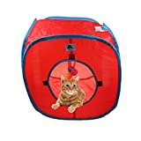 emours Flexible Pop Out Cat Kitty Play Cube Expandable Play Tunnel Cat Toys,with 4 Balls, Red