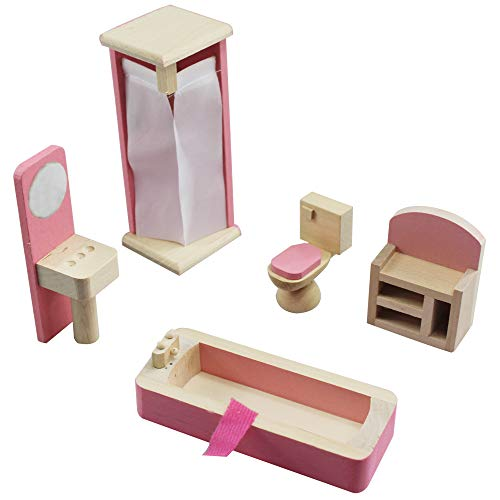 yuanzhou Play House Toys Pink Wooden Furniture Dollhouse Childrens Educational Toys Kids Dollhouse Toy -  A0352K12JF219