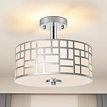 Ganiude Modern 3-Lights Semi Flush Mount Light Fixture,Close to Ceiling Light with Silver Finished Metal Drum Shade,Pendant Kitchen Light for Bedroom,Living Room,Dining Room,Hallway,Entry,Foyer