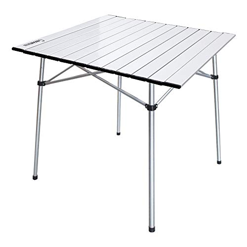Growsun Folding Camping Table, Portable Aluminum Lightweight Square Table w/Carry Bag for Outdoor and Indoor