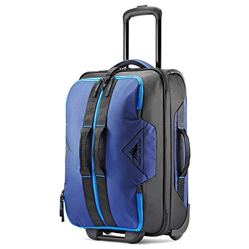 High Sierra Dells Canyon 22-inch Coated Upright Wheeled Luggage Suitcase - Rolling Upright Luggage for Travel - Large Multi-compartment Luggage Suitcase with Wheels True Navy/Black/Sport Blue
