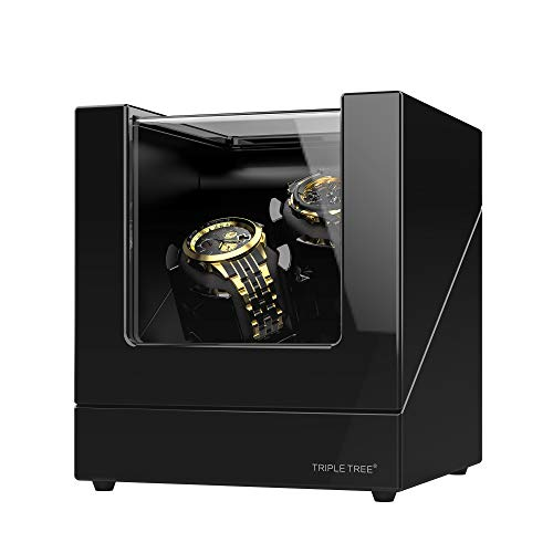 Double Watch Winder, for Automatic Watches, Wood Shell Piano Paint Exterior, Extremely Silent Motor, Flexible Watch Pillows, Suitable for Ladies and Men