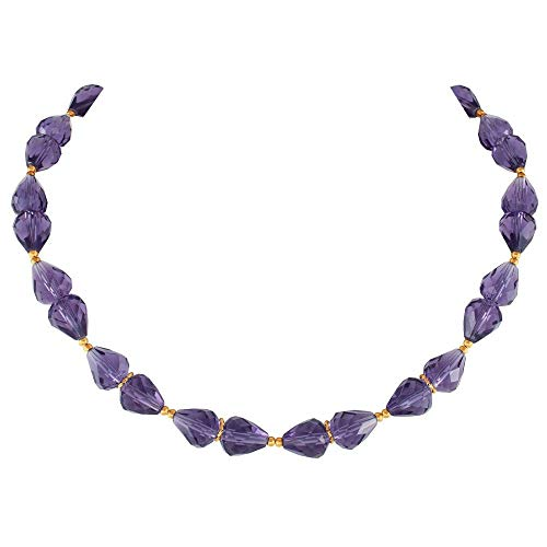 Eternal Collection Sophistication Amethyst Crystal Gold Tone Necklace Purple 48.5