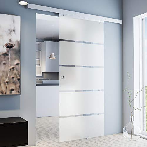 inova Glas-Schiebetür 880 x 2035 mm Blockstreifen Design Alu Komplettset mit Lauf-Schiene und Quadratgriff