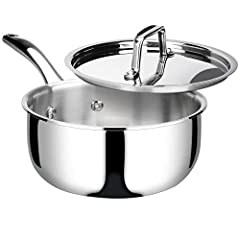 HIGH QUALITY MATERIAL: This 3 quart saucepan is manufactured with whole-clad tri-ply stainless steel—ensuring even heating and eliminating hot spots. FEATURES: The stainless steel pot with lid features a classic straight-sided and drip-free pouring d...