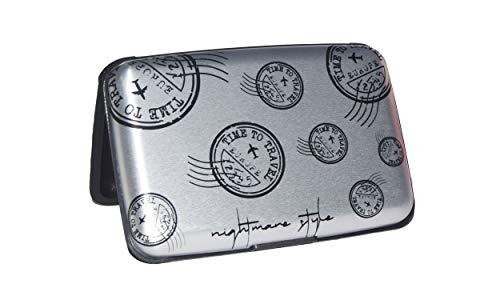 NIGHTMARE STYLE Tarjetero con función Bloqueo RFID y NFC (GrisPlata). Porta-Tarjetas Hombre o Mujer.Pasaporte Seguro.Equipaje de Viajes. Regalo Ideal.