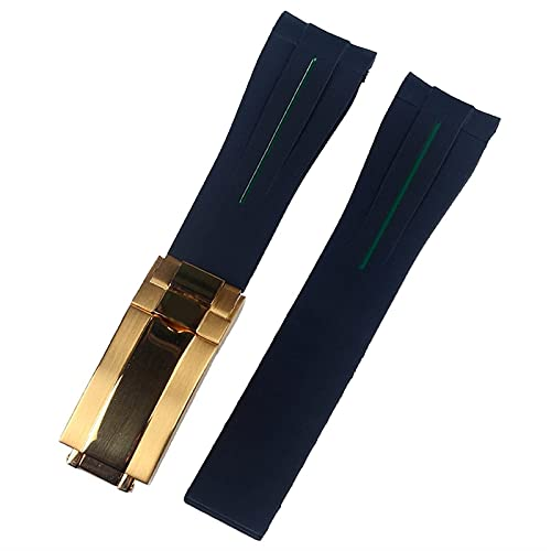 WSYGHP Correas de reloj de goma para Rolex DAYTONA de 20 mm para hombre, accesorios de reloj de silicona, pulsera y cadena de reloj (color: 20 mm con logotipo, tamaño: cierre de oro verde)