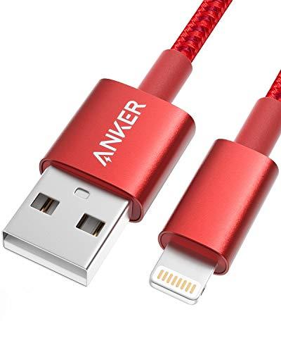 Anker iPhone Kabel 1.8m doppelt geflochtenes Premium Nylon Lightning Kabel, [Apple MFi Zertifiziert] für iPhone XS/XS Max/XR/X/8/8 Plus/7/7 Plus/6/6 Plus/5s, iPad und weitere (Rot)