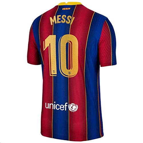 Sybabyt 2020-2021 Men's Home Soccer Jersey/Short Colour Red/Blue (Barcelona Messi #10 (XL))