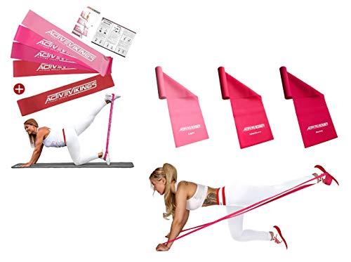 ActiveVikings Valkyrie Bundle - Ideal für Muskelaufbau Fitness Pilates Yoga Gymnastik und Crossfit - Fitnessband Gymnastikband Widerstandsband Trainingsband
