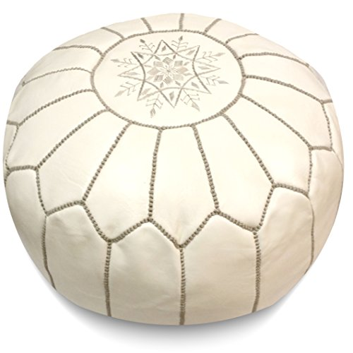 IKRAM DESIGN Moroccan Pouf with Grey Stitching, 20-Inch by 13-Inch, White