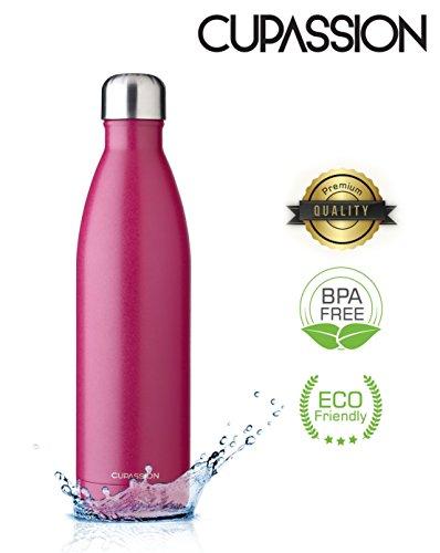 Cupasion EVI Vacuüm thermosfles, 260 ml en 500 ml en 750 ml, lekvrij, koolzuurhoudende dranken, 18 uur warm en 24 uur koud, BPA-vrij, drinkfles, waterfles, thermoskan en thermosfles.