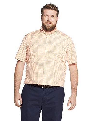 IZOD Men's Big and Tall Breeze Short Sleeve Button Down Gingham Shirt, Melon, 2X-Large Big