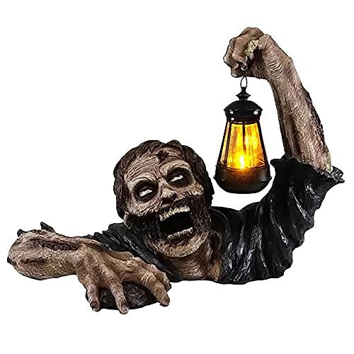 Your's Bath Lanterna Zombie Decorazione Giardino,Divertente Statua di Zombi con Lanterna A LED Oggetti di Scena Creativi in Resina di Zombi per La Decorazione di Halloween da Giardino All'aperto