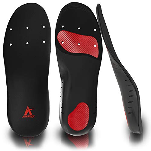 Orthotic Shoe Inserts for Pain Relief for Plantar Fasciitis, Flat Feet, Heel Spurs - Insoles with Arch Support & Shock Absorbing Cushion - Best for Running and Walking - Men & Women (Black, Medium)