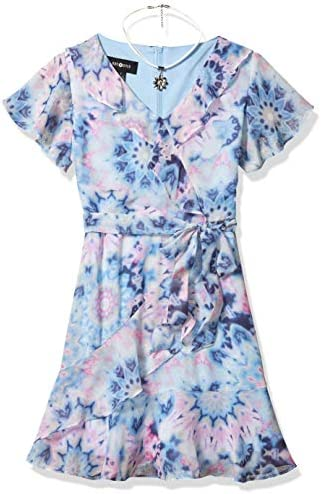 Amy Byer Girls Faux Wrap Fit and Flare Ruffle Skirt Dress Floral tie Dye 14 product image