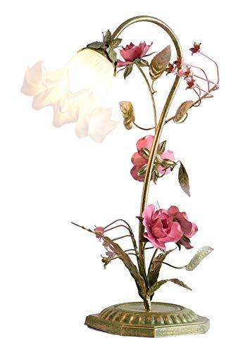 Florentiner Tischleuchte, landhausstil Florale Nachttischlampe, Rose Astleuchte mit Blättern Ranken, Glas Schirm Landhaus Tischlampe, Schreibtischlampe Wohnzimmerlampe E14, inkl. Leuchtmittel Warmweiß