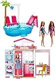 Barbie FXN66 - Juego para Fiesta de Verano con casa de muñecas, Muebles y Piscina y 3 muñecas