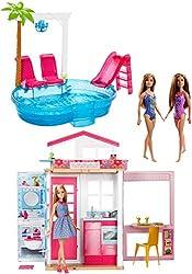 Barbie FXN66 Sommerparty Spielset mit Puppenhaus, Möbeln und Pool sowie 3 Puppen