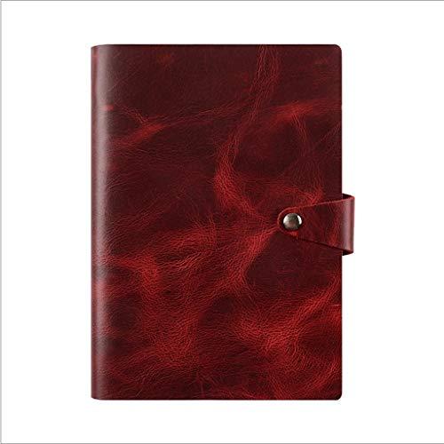 HJHJ Cuadernos De Hojas Sueltas Hebilla Notebook, Tapa Dura de Cuero de Vaca Revistas, 98Gsm Premium Grueso Papel del Diario, la Oficina de Negocios se Puede Utilizar un Regalo como blocs de Notas