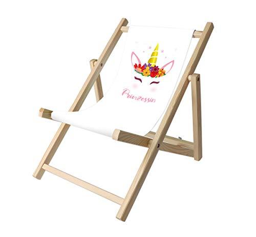 Promo Trade Kinder- Liegestuhl, naturbelassenes Kiefernholz, umweltverträglich mit verschiedenen Motiven (Einhorn Prinzessin)