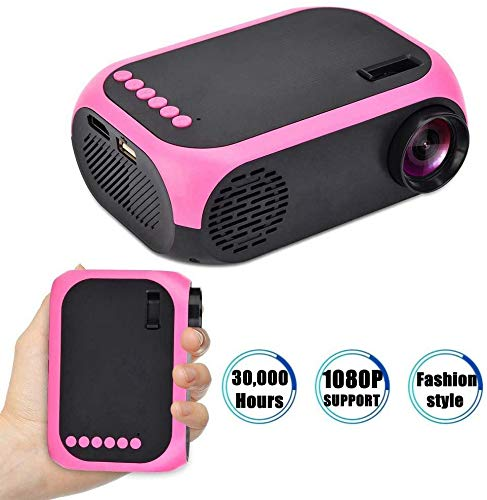 Mini Video Projectors, draagbare 1080p LED-projector Binnen/Buiten Movie projectors Ondersteuning Laptop PC Smartphone HDMI-ingang Grote Gift Pocket Projector for Party Camping Home Cinema (UK PLUG)