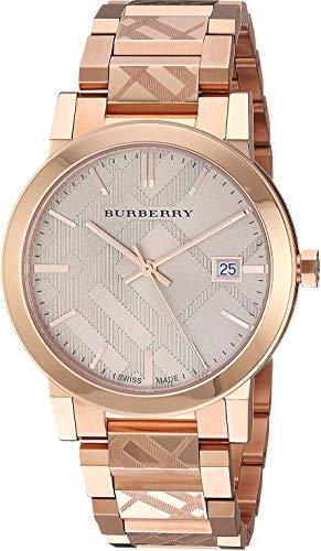 Orologio da polso unisex con incisione svizzera in oro rosa con datario, 38 mm, orologio da polso The City BU9039