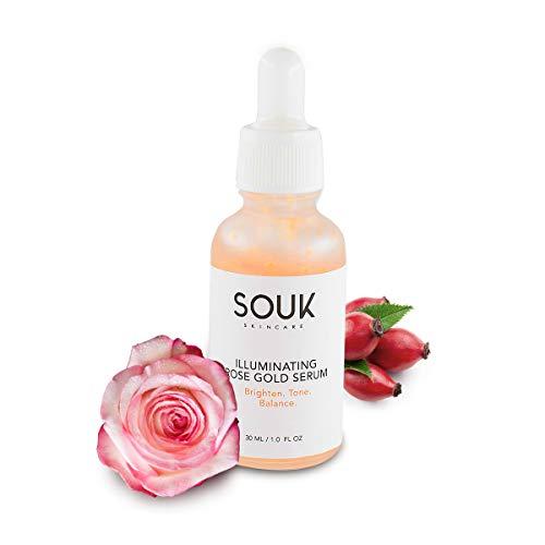 Liquid Highlighter Makeup Rose Gold Facial Serum - Illuminating Primer - Illuminator Makeup - Illuminating Rose Gold Serum - Glow Serum - Rose Gold Elixir - Highlighter Drops - 1fl Oz - SOUK Skincare