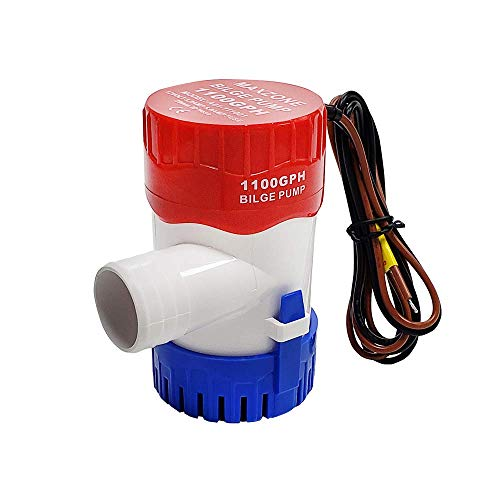 Submersible Boat Bilge Water Pump 12v 1100gph Non-Automatic Marine Electric Bilge Pump for Ponds, Pools, Spas Silent, Boat Caravan RV Submersible