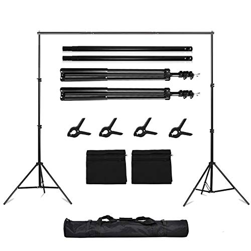 Folong Backdrop Stand, 7 x 10ft Video Photography Backdrops Stand and 2 Sandbags, Adjustable Photo Backdrop Stand Kit Support System with Carry Bag and 4 Clamps