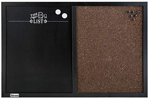 Idena 10417 Combitbord met zwart krijtbord en prikbord van kurk, inclusief 2 magneten en 6 prikbordnaalden, ca. 60 x 40 cm, ideaal als decoratie voor keuken of hal en voor de werkplek.
