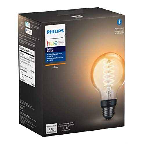 Philips Hue White Dimmable Filament Globe G25 LED Smart Vintage Edison Bulb, Bluetooth & Hub compatible (Hue Hub Optional), voice activated with Alexa