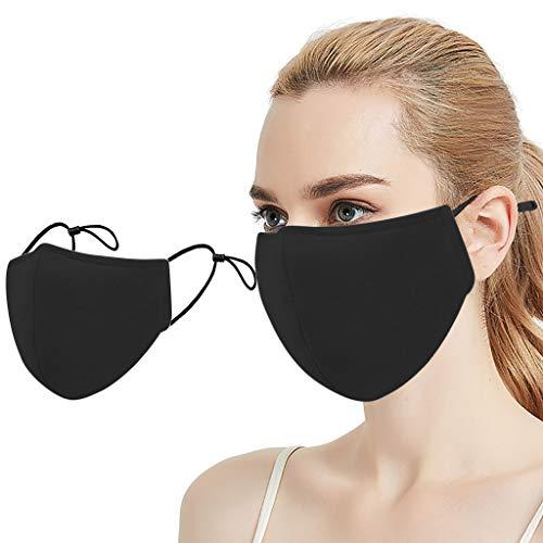 Amphia 5 Stück Gesichtsbedeckung Mundschutz Prävention gegen Spritz-/ Tröpfchenkontakt im Mund und Nasenbereich Baumwolle atmungsaktiv wiederverwendbar waschbar (Schwarz (5PC))
