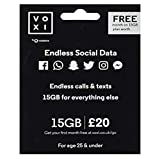 Vodafone VOXI SIM Card with Endless Social Media, Calls, Texts and Roaming, 15 GB