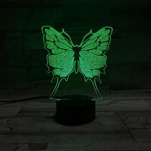 Mariposa 3D Ilusión Noche Luz 3D Luz de Noche Animal Lámpara de Mesita de Noche con Mando a Distancia 7 Colores Cambiantes de Navidad Halloween Regalo de Cumpleaños para Niños Niñas