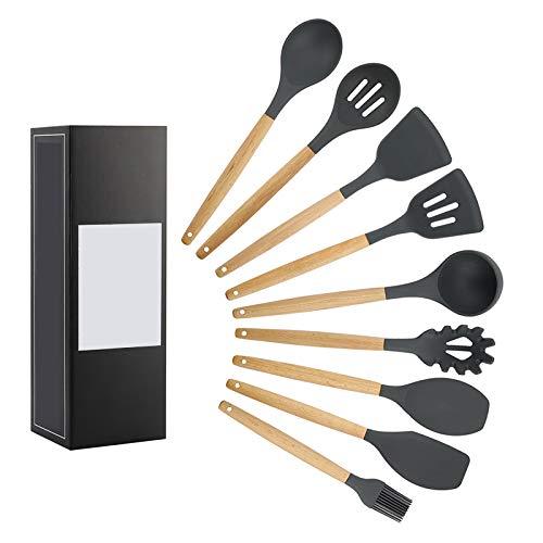 Yannn 9 Sets Kitchen Utensils Set-Silicone Cooking Utensils Non-Stick kitchenware Spatula Spoons Wooden Kitchen Tool Set Black