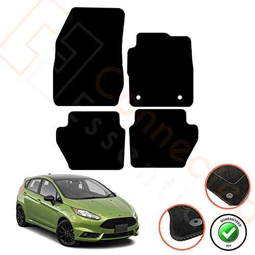 Connected Essentials Fully Tailored Deluxe Car Mats For Fiesta MK7 2008-2017, Set of 4, Black With Black Trim with 2 Safety Clips in Drivers Mat (1947554), 5003915