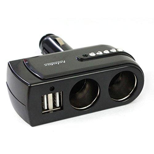 Bestpriceam 2 USB Charger Supply+2 Socket Car Cigarette Lighter Extender Splitter