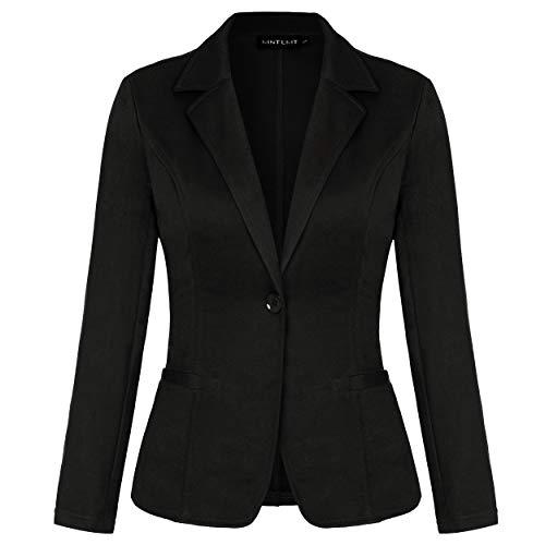 MINTLIMIT Damen Blazer Cardigan Dünn Langarm Elegant Bolero Business Jacke Blazer Slim Fit Anzug Anzugjacke(Schwarz,Größe XL)