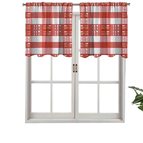Hiiiman Modern Window Curtain Valance Cutlery Silhouettes on Squares Dining Picnic Tile Spoons Forks Knives, Set of 1, 42'x18' Home Decorative Blackout Panels for Living Room