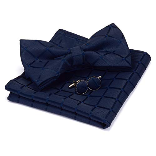 GUSLESON Navy Blue Plaid Bow Tie Se…