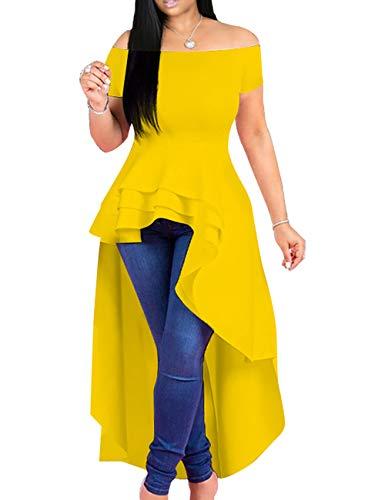 Lrady Womens Off Shoulder Tops High Low Ruffle Short Sleeve Peplum Tunic Blouse Shirt Dress Yellow S
