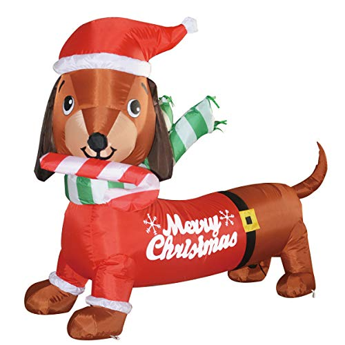 GOOSH 5 feet Long Indoor Outdoor Yard Garden Christmas Decoration Dog Self-Inflatable with Suit Perfect for Dachshund Blow Up Yard Decoration