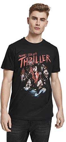 MERCHCODE Herren Michael Jackson Thriller Zombies T-Shirt, Black, XL
