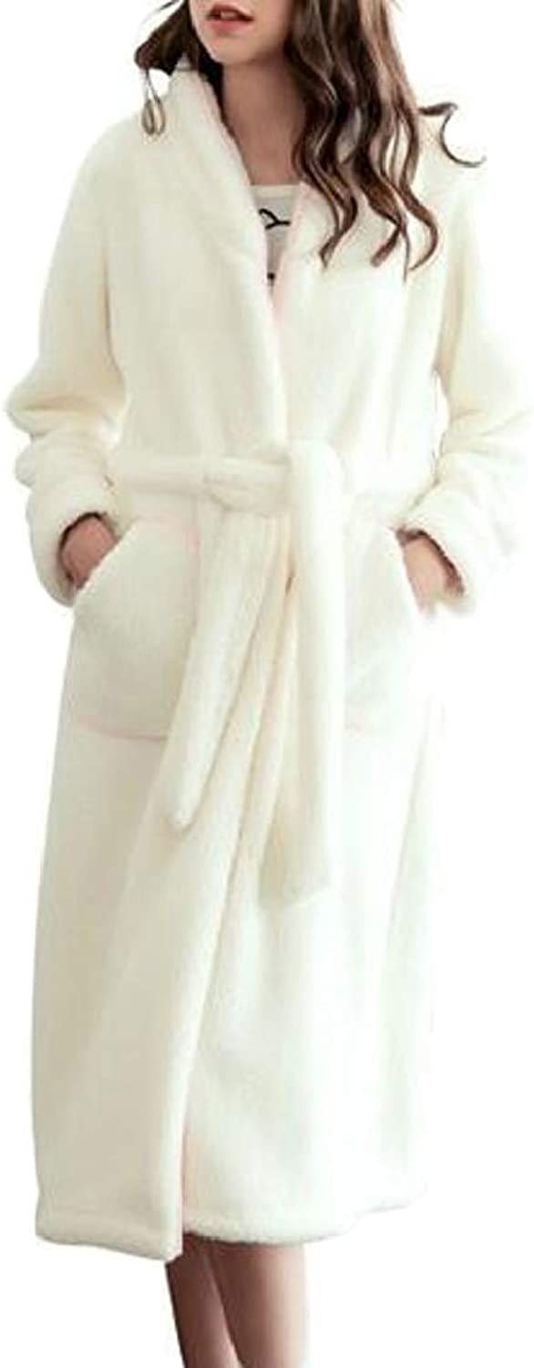 QDCACA Women's Thick Flannel Bathrobe Plush Warm Velvet Fleece Robe Sleepwear