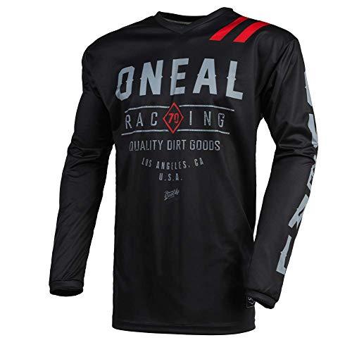 O'NEAL | Motocross-Trikot | Enduro MX | Atmungsaktives Material, gepolsterter Ellenbogenschutz, Passform für maximale Bewegungsfreiheit | Jersey Element Dirt | Erwachsene | Schwarz Grau | Größe XL