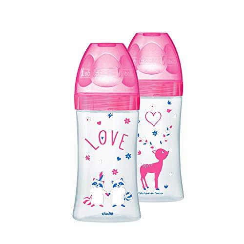 Dodie - Set mit 2 Babyflaschen + 270ml Rosa 0-6 Monate, Flacher Sauger Flussrate 2 6007302